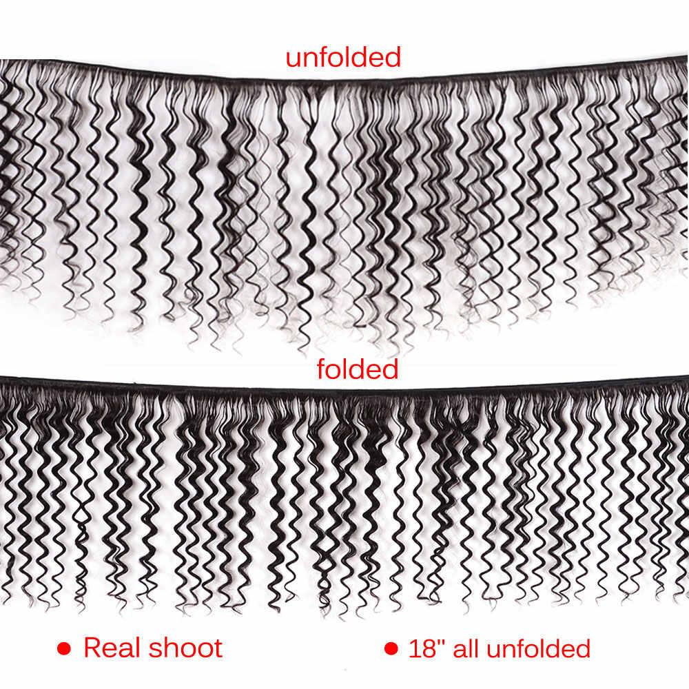 Lanqi deep wave ofertas de extensiones 100% extensiones de cabello humano 1 o 3 paquetes de extensiones de cabello no remy extensiones de pelo ondulado brasileño