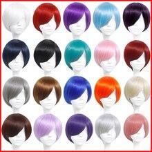 MUMUPI короткий прямой универсальный парик розовый серый зеленый синий косплей парик Карнавальный Костюм Высокая температура волокна синтетические волосы парики