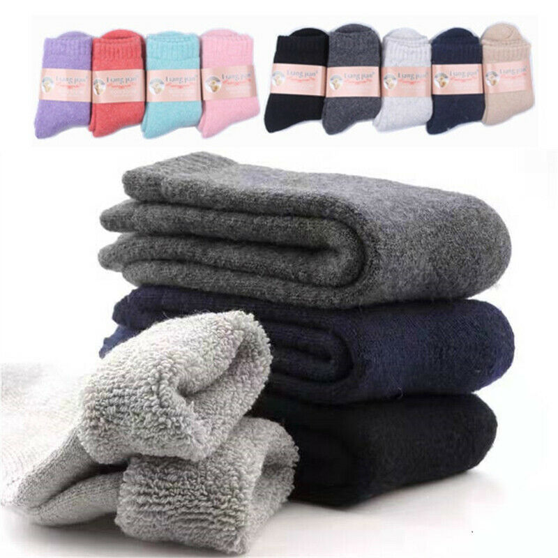 2020 Winter Outdoor Super Thicker Solid Socks Merino Wool Cashmere Socks Against Cold Snow Russia Winter Warm Male Men Socks