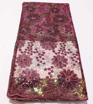 beautiful African Organza Lace Fabric High Quality Nigerian Sequins Lace Fabric 5 Yards For Wedding