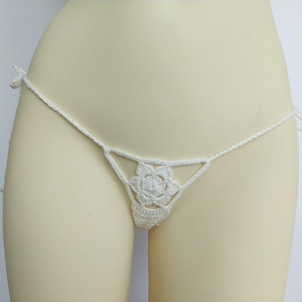 10 Colors Crochet Thong G-String Women's Mini Bikini Bottom Beach Micro Swimwear Thong Sunbathing Bikini Shorts
