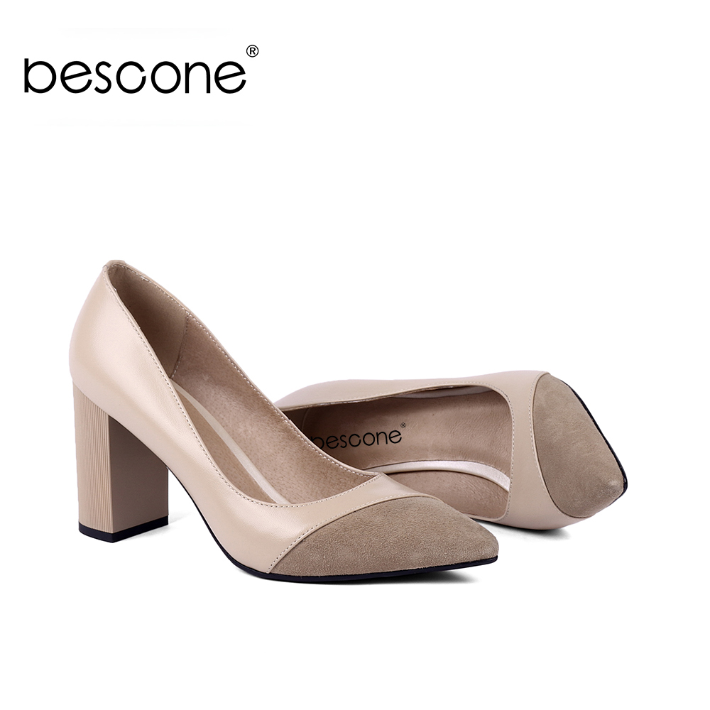 BESCONE Fashion Genuine Leather Shallow Women Pumps Commute Pointed Toe Super High Shoes Handmade Square Heel Ladies Pumps BC141