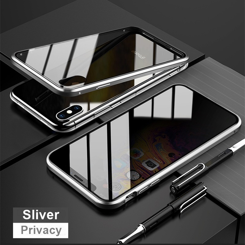 Tongdaytech Privacy Magnetic Case For Iphone XS XR X 6s 6 7 8 Plus 11 Pro MAX Magnet Metal Double Side Tempered Glass Cover 360 Funda Cases
