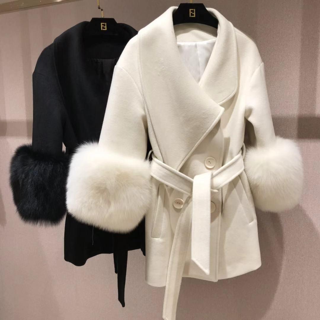 Manteau en laine cachemire à col en fourrure de renard à double boutonnage à manches cloche épaissir chaud classique manteau féminin femmes manteau d'hiver