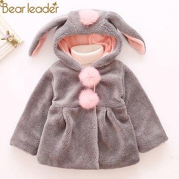 Bear Leader dziewczynek kurtka 2019 jesienno-zimowa kurtka na Faux futro płaszcz polarowy ciepła kurtka świąteczny kombinezon na śnieg na dziewczynę płaszcz 1-4Y