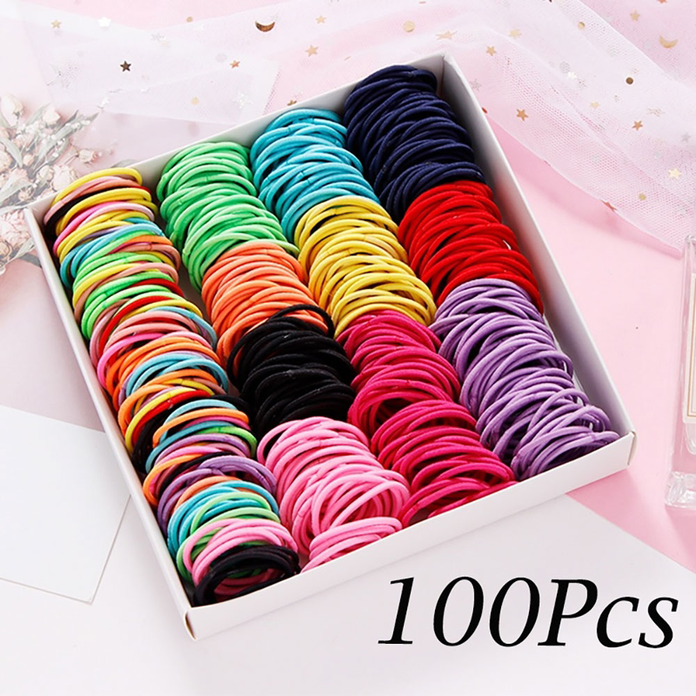 100PCS/Lot Hair Rope Elastic Styling Tool Hair Knitting Braided Rope Headband Jewelry Hair Accessories For Girls DIY Ponytail