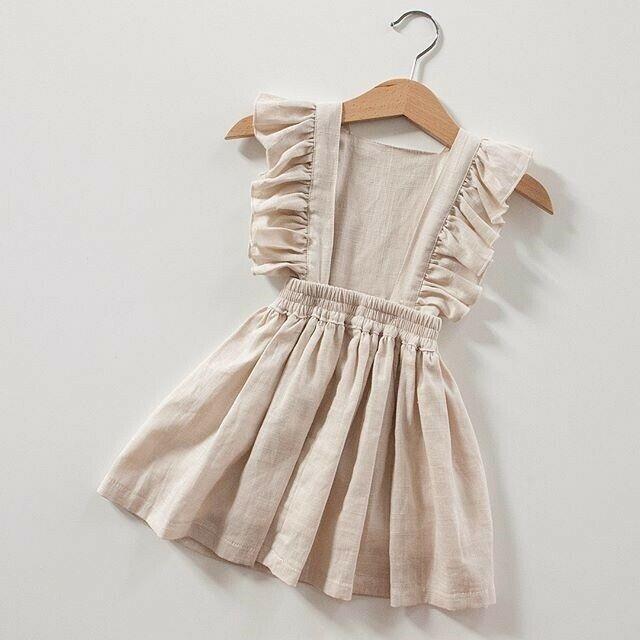Хлопковое и льняное однотонное детское летнее платье без рукавов для маленьких девочек