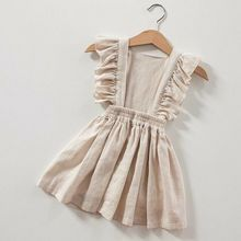 Toddler Kids Baby Girl Cotton&Linen Sleeveless Solid Color Party Dress