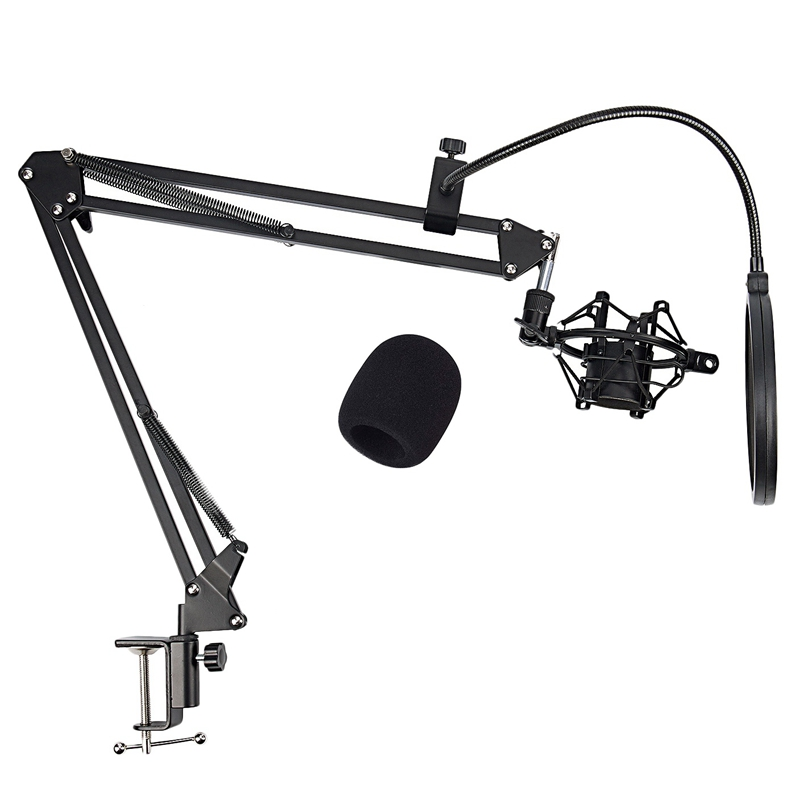 NB-35 Microphone Scissor Arm Stand And Table Mounting Clamp & New Filter Windscreen Shield & Metal Mount Kit