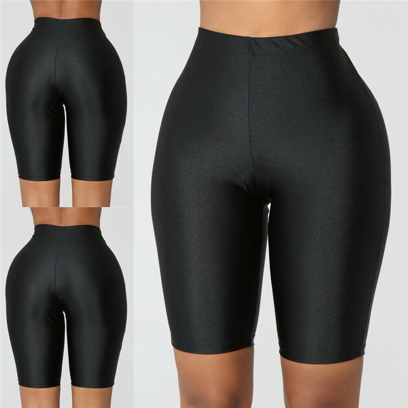 Fluorescence Color Biker Shorts Tracksuit Slim Black Casual High Waist Shorts Women Fashion Solid Sexy Body Shorts New