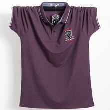 الأرجواني الرجال قميص بولو كبار الأعمال مكتب الرجال Camisa الذكور القطن شارة قميص بولو حجم كبير 5XL الصيف عادية تي شيرت