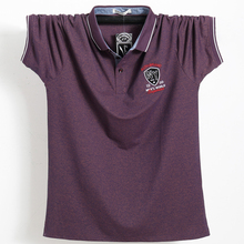 紫色の男性ポロシャツトップビジネスオフィス男性カミーサmasculina綿バッジポロシャツプラスサイズ 5XL夏カジュアルtシャツシャツ