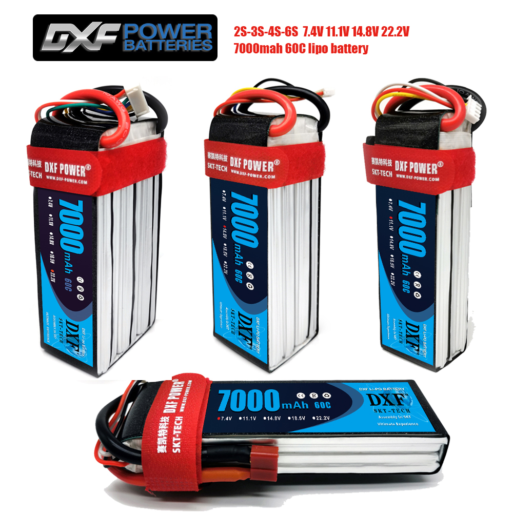 2PCS DXF graphene <font><b>lipo</b></font> Battery 7.4V 11.1V 14.8V <font><b>7000mah</b></font> 60C 120C 2S 3S <font><b>4S</b></font> 6S for RC TRXX Car Boat Helicopter image