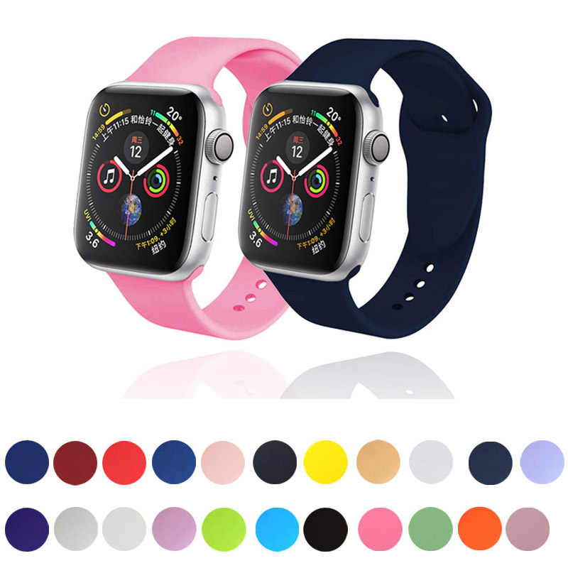 soft Silicone sport Straps For Apple Watch band 44mm 40mm 42mm 38mm Wristbands Bracelet For iwatch series 5 4 3 2 1 accessories