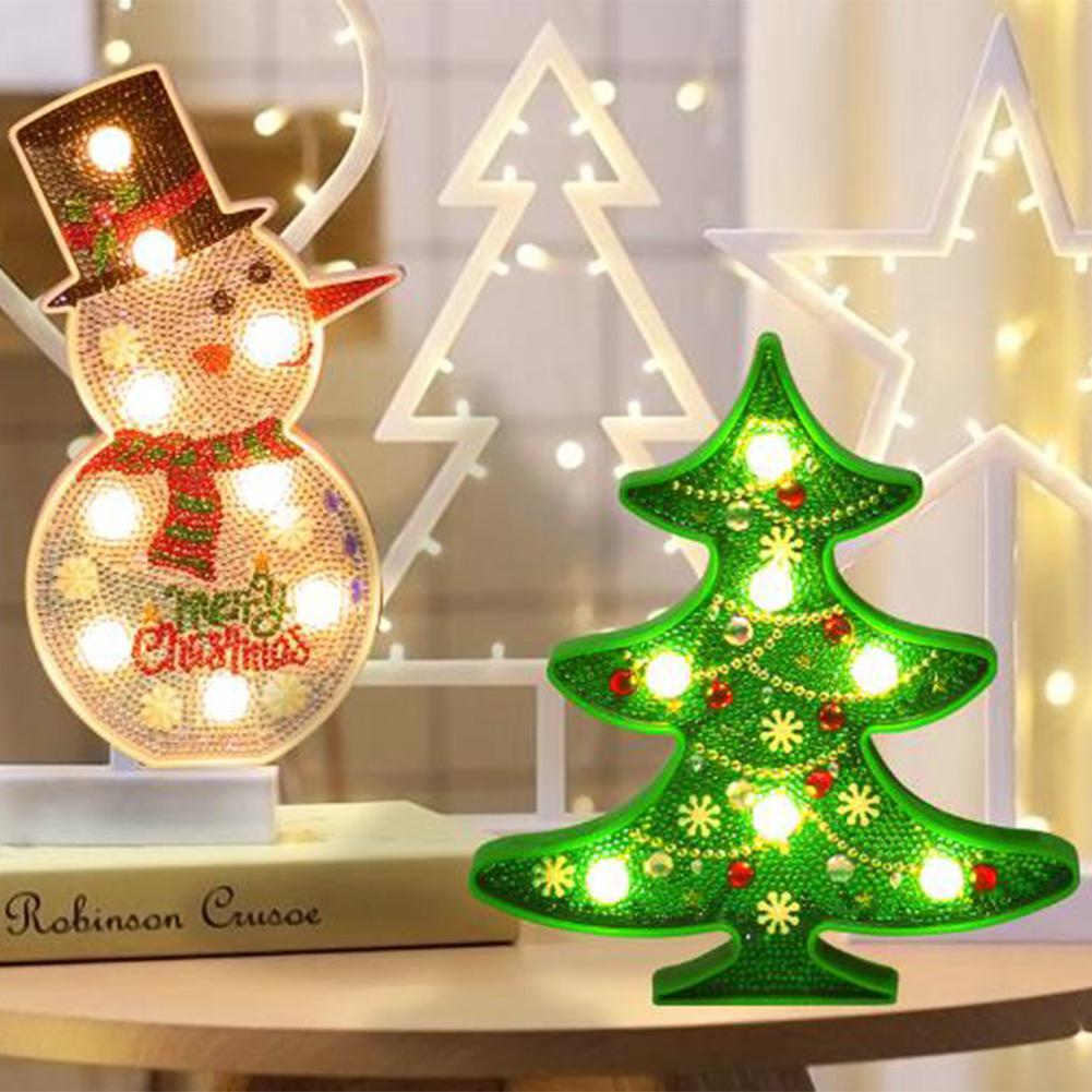 HiMISS  DIY LED Diamond Painting Night Light Christmas Tree Snowman Cross Stitch Embroidery Special Shape Wedding Decoration
