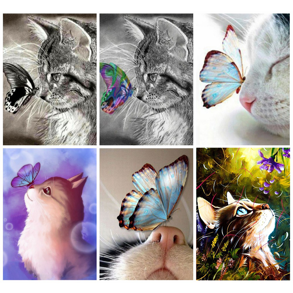 Huacan Diy Diamond Painting Cat Diamond Art Full Drill Mosaic Butterfly Embroidery Cross Stitch Animal Decorations For Home
