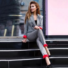 Patchwork Red Rolled Sleeve Plaid Blazer Jacket And Pants Suit Long Women Two Piece Set British Style Ol Pants Suit rolled hem drawstring plaid pants
