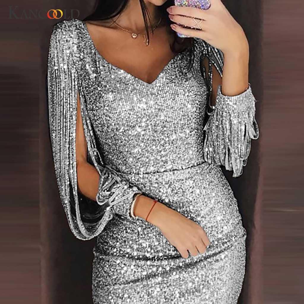 KANCOOLD2019 zarif kadın seksi katı pul ekleme parlak kulübü kılıf köpüklü Sequins uzun kollu Mini elbise