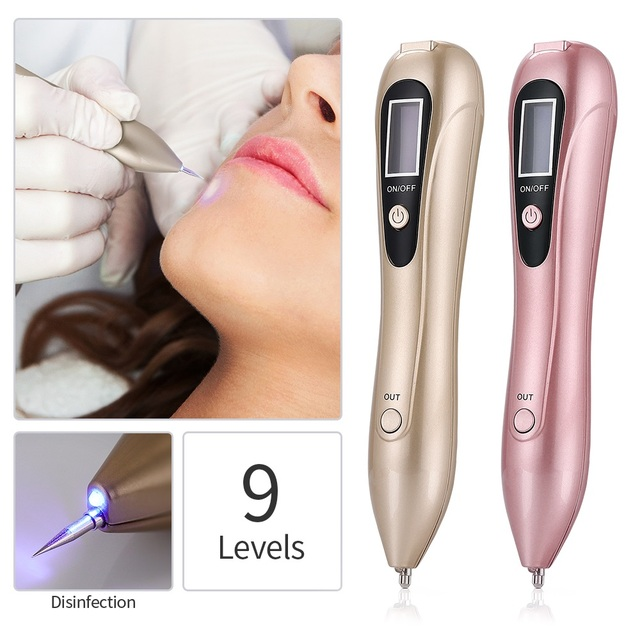 9 Level LCD Black Spot Remover Mole Tattoo Removal Laser Plasma Pen Machine Facial Freckle Tag Wart Removal Skin Care