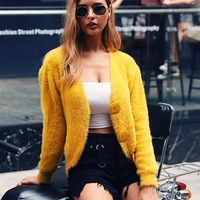 2019 Fall Cropped Sweater Cardigan Women Yellow Furry Tops Big Buttons Long Sleeve Solid Casual Knitted Designer Pull Femme