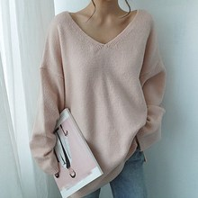 Fall Casual V-Neck Solid Plus Size Sweaters Pullovers Minimalist Long Sleeve Loose Sweaters Korean Style Knitted Sweaters
