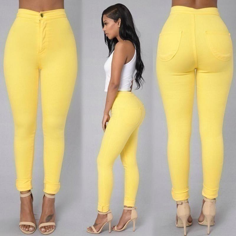 Fashion Yellow Skinny Jeggings Pants High Waist Stretch Pencil Trousers Woman Slim Sexy Push Up Trousers Candy Color Casual New