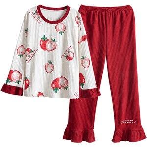 Image 2 - Женская одежда, осенне зимние пижамные комплекты, одежда для сна, милая Пижама, Женская хлопковая пикантная пижама с длинным рукавом, Женская милая домашняя одежда