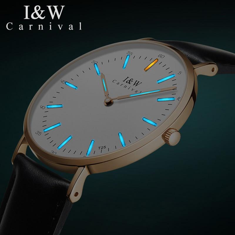 Carnival Men's Quartz Watches Men T25 Tritium Luminous Wrist Watch Man Fashion Business Waterproof Leather Clock Reloj Hombre