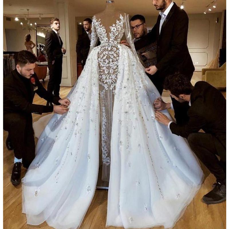 Vestido De Noiva Luruxy Dubai Bridal Wedding Dress With Detachable Skirt Sexy Illusion Sleeves Flowers Appliques Wedding Gowns