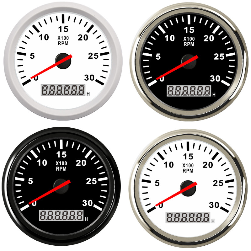 8000 rpm Tachometer Boat Car Marine Tacho meter with LCD Hourmeter Car Tachometer with red backlight 12V boat accessories marine|Tachometers|   - title=