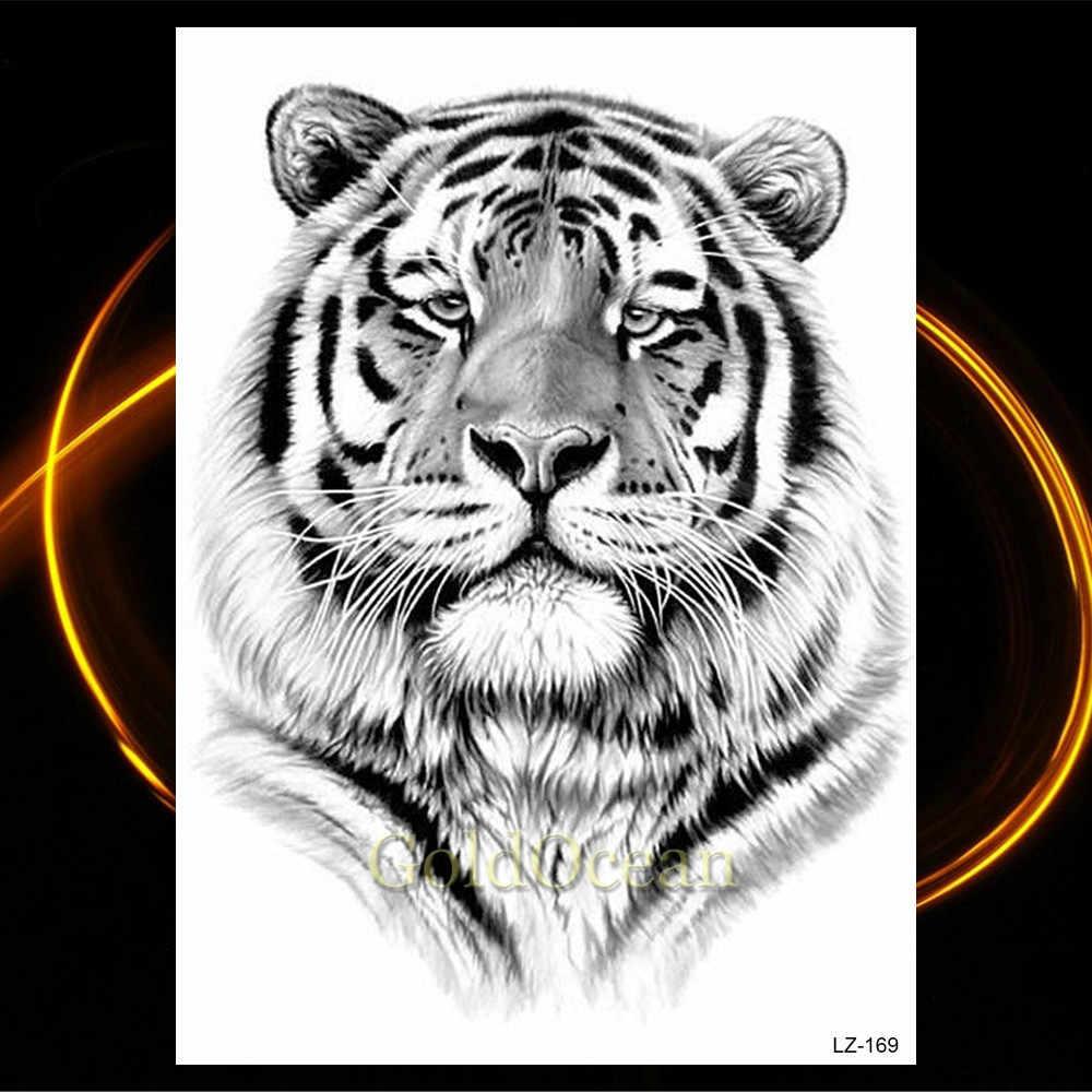 Africa Serengeti Leone Tatuaggio Temporaneo Indiano Tribale Mighty Lion Warrior Flash Impermeabile Autoadesivo Del Tatuaggio Nero Tatoo Uomo Donna