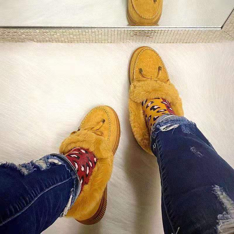 Winter 2020 Women's Casual Fur Shoes Cute Bowknot Trending Fluffy Furry Slip-on Sneakers Ladies Plush Loafers Flats Platform