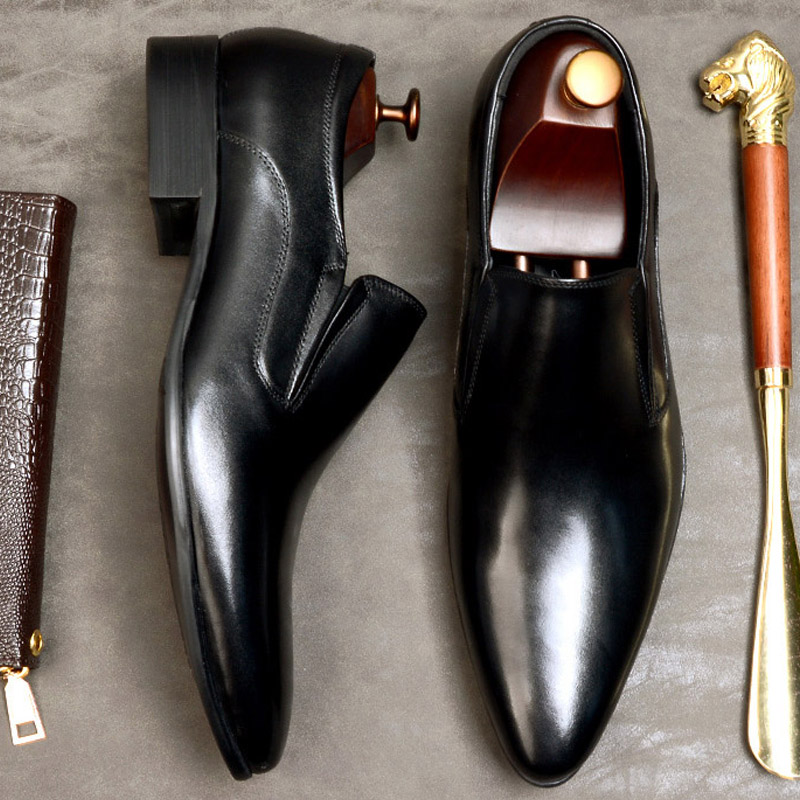 New Men Formal Shoes Genuine Cow Leather Rubber Slip On Pointed Toe Black Wine Red Oxford Shoes For Men Dress Shoes Eu 46