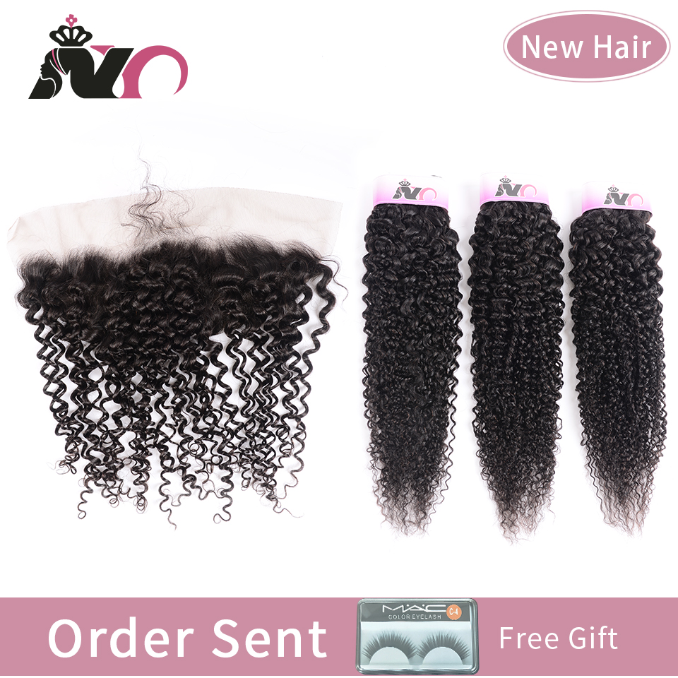 NY Hair Bundles With Closure Peruvian Kinky Curly Wave Human Hair Bundles With Closure Non Remy 3 Bundles With 13*4Lace Frontal