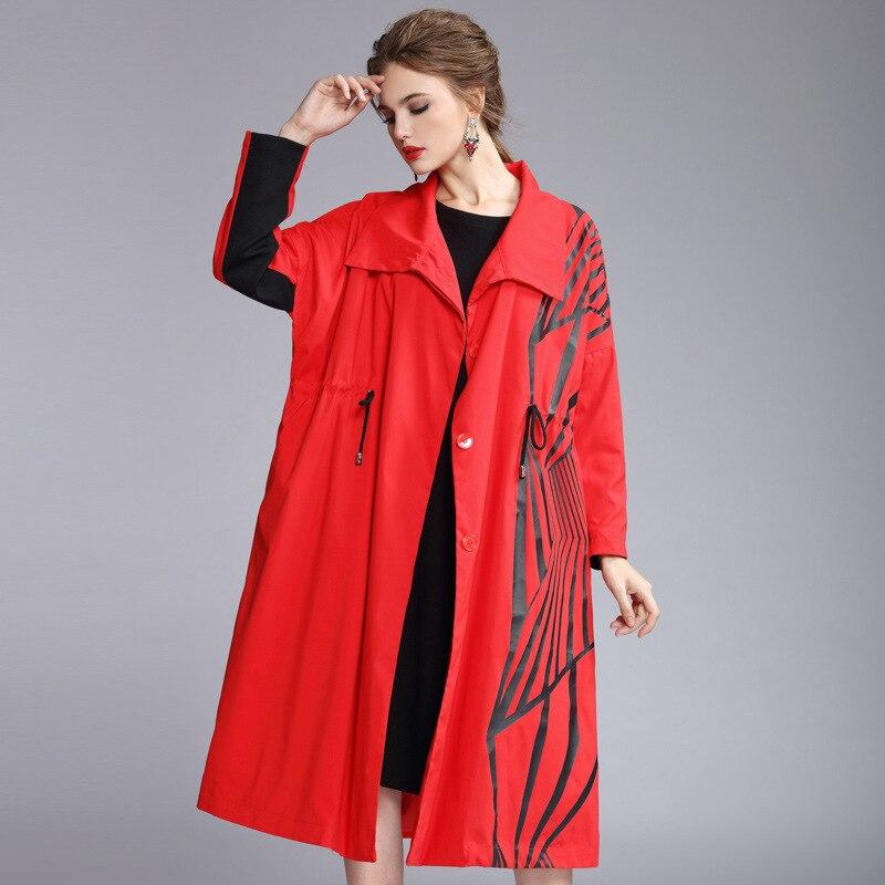 Женский Тренч, Осень зима 2019, отложной воротник, спущенное плечо, длинный рукав, модный принт, Свободное пальто - 2