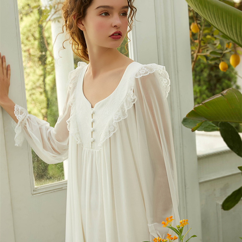 Sleepwear Dress Women Nightgown Long Sleeve Summer Nightdress Ladies Elegant Nightgown Pink White