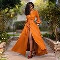Felyn 2020 лучшее качество от известного бренда однотонное платье с V-образным вырезом длинным рукавом с высоким разрезом офисное женское плать...