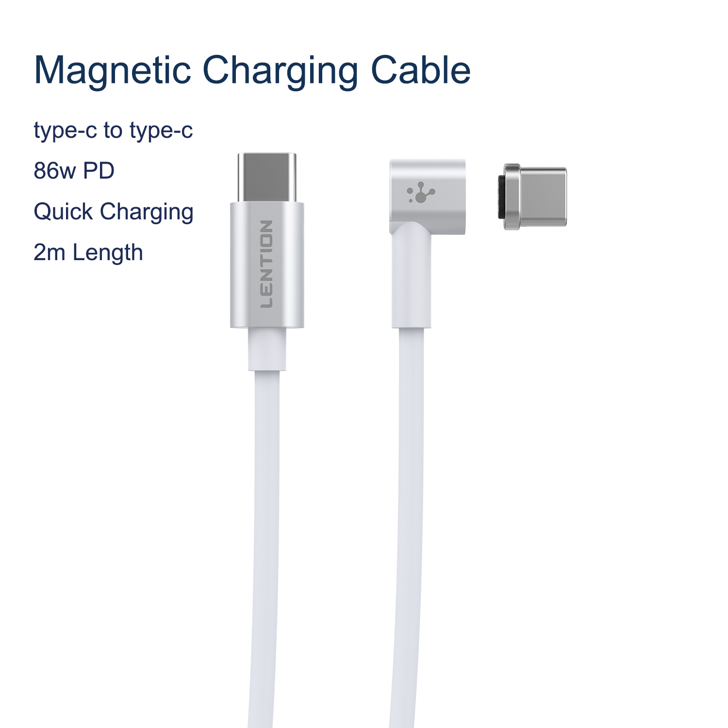 86W USB C Cable To Type C Magnetic 2M Cable For Macbook Huawei Mate 20 Pro OnePlus 6 Fast Charging Magnet Type C ConnectorMobile Phone Cables   -
