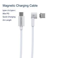 86W kabel USB C do magnetycznego kabla 2M typu C do Macbook Huawei Mate 20 Pro OnePlus 6 szybkie ładowanie magnesu typ C złącze