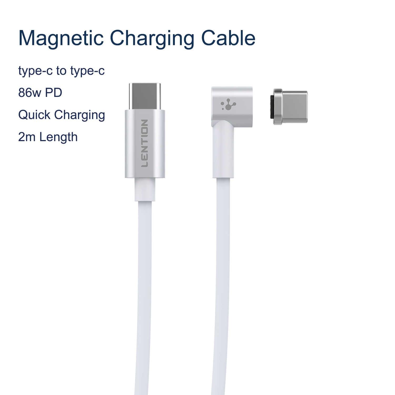 Cabo usb c para tipo c, 86w, cabo magnético 2m para macbook, huawei mate 20 pro, oneplus conector magnético tipo c, 6 carregamentos rápidos
