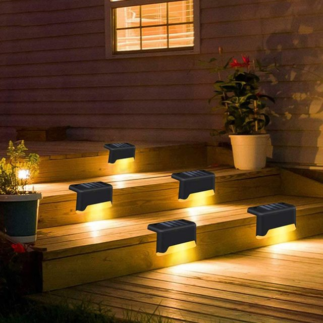 16pcs LED Solar Lamp Path Stair Outdoor Waterproof Wall Light Garden Landscape Step Stair Deck Lights Balcony Fence Solar Light 4