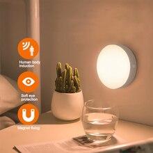 PIR Ночной светильник 6 светодиодный PIR датчик движения настенный светильник Автоматическое включение/выключение беспроводной USB Перезаряжаемый светильник для спальни шкафы в гостиную