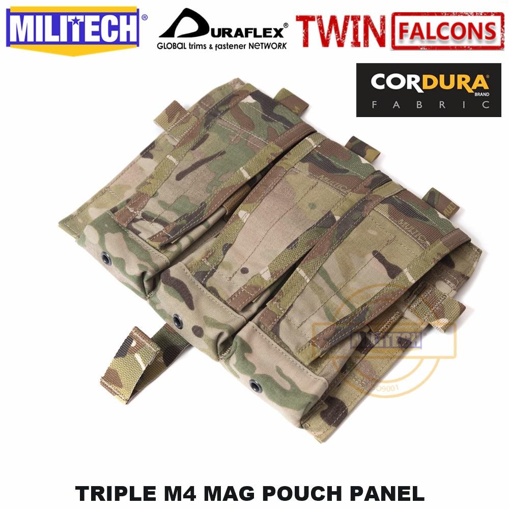 MILITECH TWINFALCONS TW Delustered Cordura Crye CP Detachable Flap Triple M4 Mag Pouches Panel For AVS CPC JPC 2.0 FCSK 2.0
