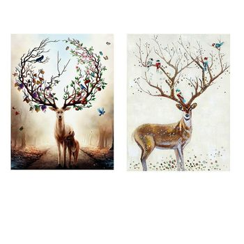 Nordic Elk Instgram Style Posters and Prints Wall Pictures for Living Room Canvas Painting Garden Decoration Ohio State image