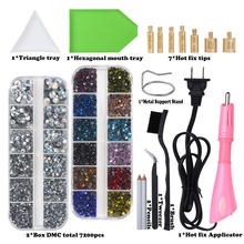 Ensemble de Strass thermofixables, 7200 pièces, applicateur en verre de cristal, mélange de couleurs, ensemble de Strass thermofixables, baguette à repasser