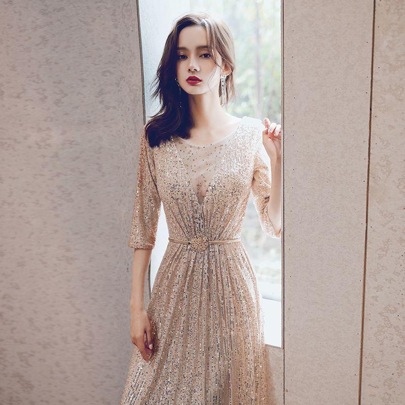 Half Sleeves V-neck Gold Prom Party Evening Dresses Sequin Bling Moroccan Kaftan Bling Robe De Soiree