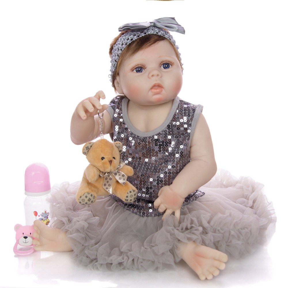 22 inch Art princess Reborn Dolls Silicone vinyl skin body Realistic bebe reborn Doll girls gift bath toy with beautiful Dress