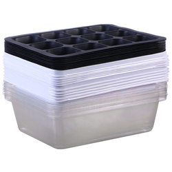 10 Pack taca do sadzonek taca startowa z kopułą i podstawą 12 komórek do ogrodnictwa Bonsai biała w Doniczki do sadzonek od Dom i ogród na