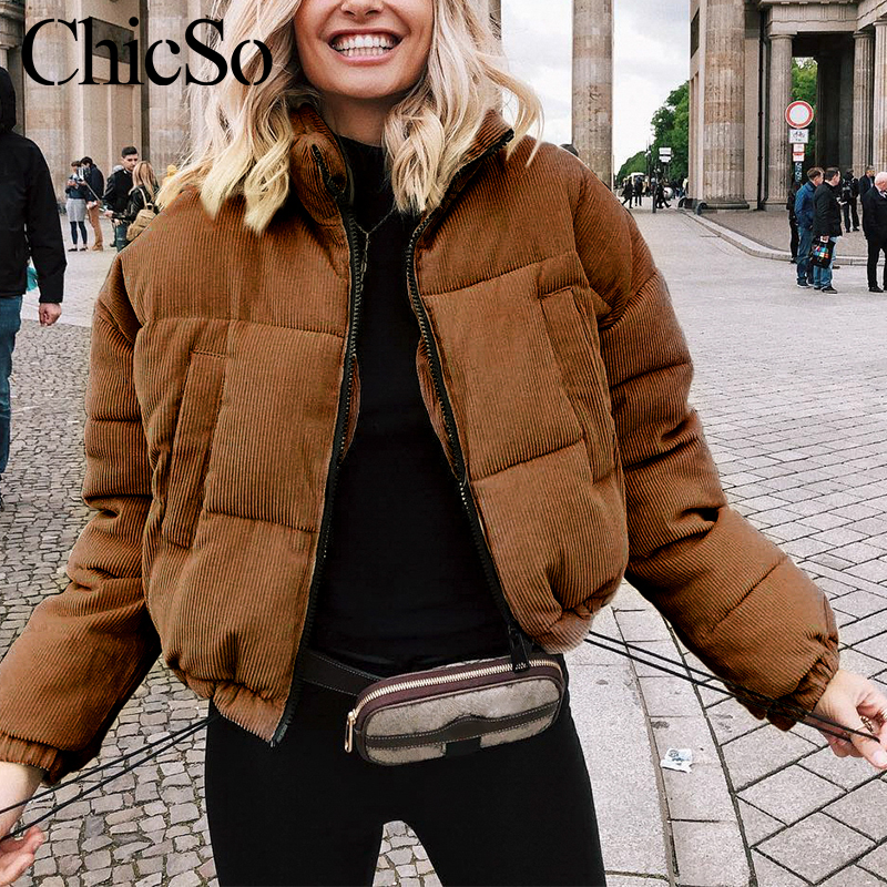 MissyChilli Casual down   parka   jacket women winter coat Female khaki streetwear thick coat Snow wear warm corduroy outerwear 2019
