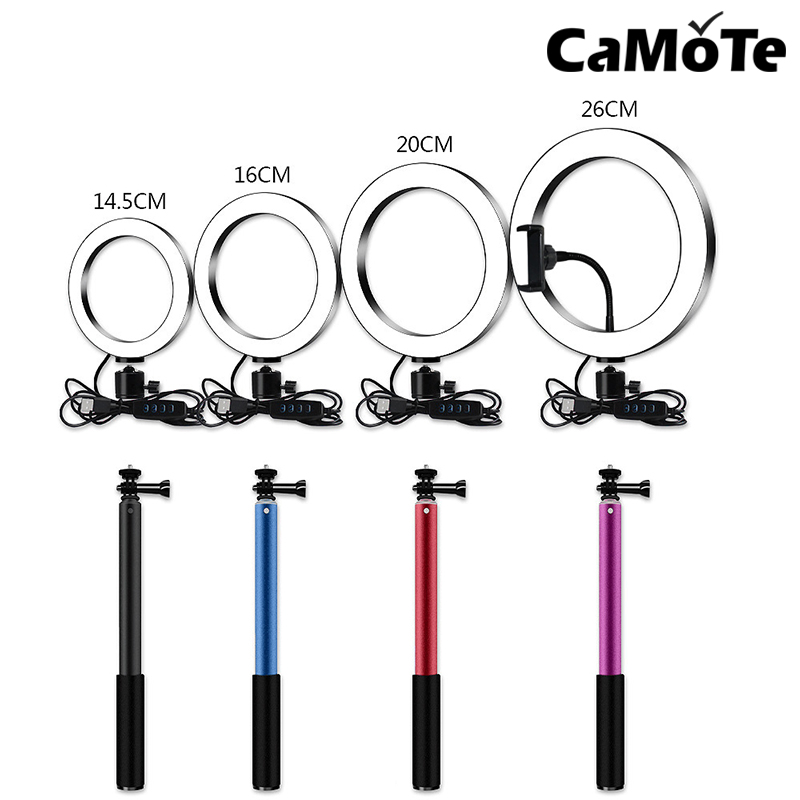LED Ring Light TikTok 10inch 5600K Light Lamp Dimmable Photography Studio Phone Video With 150CM Tripod Selfie Stick USB Plug